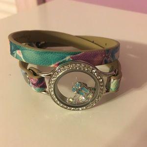 Origami Owl floral wrap bracelet